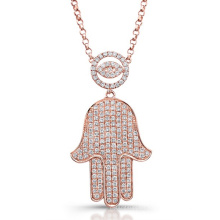 14k Rose Gold Over Silver Micro Pave Diamond Evil Eye and Hamsa Necklace