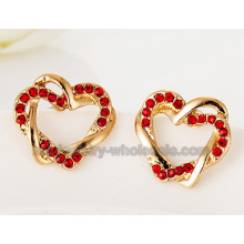Double Heart Zinc Alloy Fashion Ear Stud Earrings
