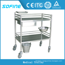 SF-HW2060 hospital ues stainless steel medical dressing trolley