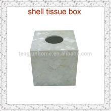 Natürliches Handwerk Reines Weißes Süßwasser Shell Tissue Box