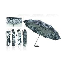 Paraguas a prueba de viento Duomatic plegables en blanco y negro (YS-3FD22083910R)