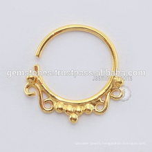 Handmade Gold Plated Tribal Septum Ring, Wholesale 925 Sterling Silver Nose Ring Septum Piercing Jewelry