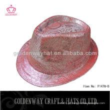 Rosa e prateado de algodão de poliéster chapéu de fedora colorido para festa engraçado barato