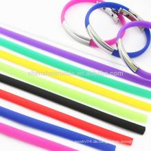 Großhandels-Edelstahl-Mann-unbelegte Teller-Armband-verschiedene Farben-Silikon-Seil-Armband-Armbänder