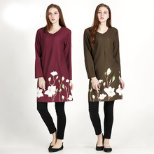 Premium-Qualität Polyester Digital gedruckt floral Frau Kleid Leinen muslim Abaya