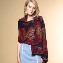Lady Fashion Flower Bear Jacquard Acrylic Knitted Winter Shawl (YKY4516)