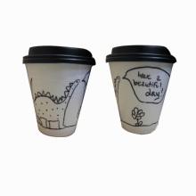 Одноразовые бумажные стаканчики для горячего кофе с крышкой