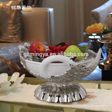 High class elegant resin crafts luxurious peacock modern style compote resin fruit plate resin figurine home decor