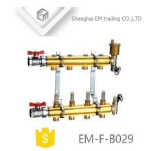 EM-F-B029 manifold de latão de aquecimento de piso de alta qualidade com válvula de esfera