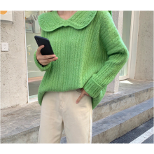 2020 new French collar loose pullover sweater