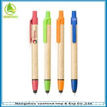 Vente en gros de Eco friendly stylo, stylo de papier recyclé avec stylet et logo personnalisé