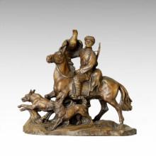 Ost-Statue Dorf Leben Landwirt Hunter Bronze Skulptur Tple-027