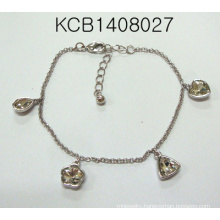 Metal Bracelet with Heart-Shaped and Flowers Pendant