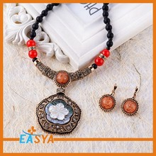 Flower Alloy Pendant With Beads Chain Fashion Jewelry Set