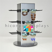 Countertop Rotierende Schmuck-Display mit Haken Custom 4-Wege-Metall hängen Schmuck Display Rack