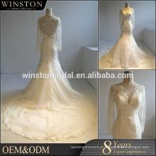 China fábrica OEM uma linha longo vestido de noiva