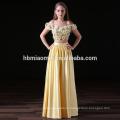 2017 новая мода 2шт набор желтый цвет атласная длинные платья невесты платья оптом