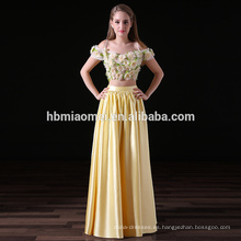 2017 nueva moda 2 unids establece vestidos de dama de honor larga de color amarillo satinado al por mayor