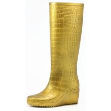 Golden Crocodile Wedge Heel Rubber Boots