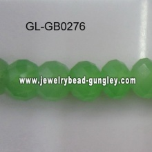 opaque roundel glass bead-green