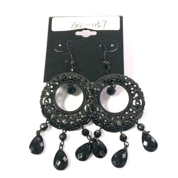 Small Black Lace Earring with Metal