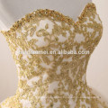 2017 nuevo vestido de boda del amor del neckline del cuello de la manera del amor vestidos de boda coloreados del champán con hecho a mano pesado
