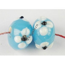 2015 Gets.com lampwork beads, Bumpy Lampwork Beads, Rondelle, with flower pattern
