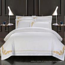 Conjunto de cama de bordado de mão de algodão 100% cetim qualidade superior