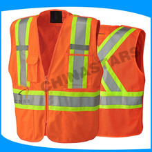 ANSI 107 china cheap reflective fluorescent safety vest red