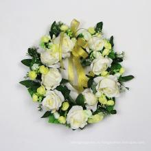 Белый красочный 35см искусственная дверные венки для украшения партии свадьбы