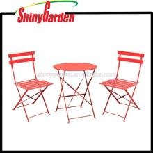 Set barato de los bistros del patio al aire libre del metal de 3 pedazos, mesa y silla al aire libre plegables del acero inoxidable