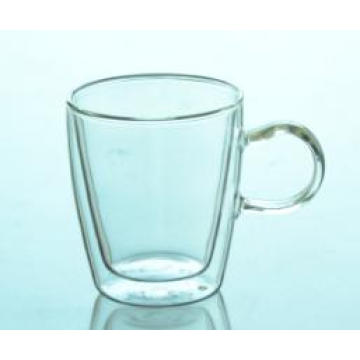 Hottest Hand-Made Double Wall Glass Tea/Coffee/Milk Cup with Handle Borosilicate Clear Heat Resistance