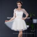 2017 Fashion Elegant 1/2 Hülse Bestickt Appliqued Short Tüll Gelb Brautjungfer Abend Abendessen Kleid