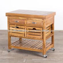Carrinho de madeira maciça com rodas de rodízio e 2 caixas 2 caixas de corrediças Gabinete de cozinha