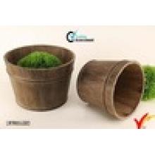2 Juego de barril de madera de Brown ronda de antigüedad