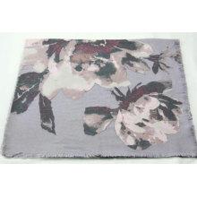 hotsale peony pattern print long scarf fringe on four side super soft hand feeling