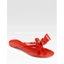 Moda feminina Bow Flat Flat chinelos de verão plana (hyy02-551)