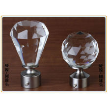 Nickel Plated Crystal Spheres Ball Curtain Rod Finial