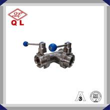 Alta calidad 304 316L 3way válvula de mariposa sanitaria del acero inoxidable con la te