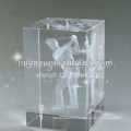 Cube en verre de cristal de laser de haute catégorie pour la décoration à la maison