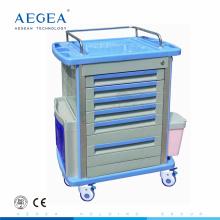 AG-MT001A1 erweiterte ABS Körper Schubladen Medizin Lager Krankenhaus Notfall Pflege Wagen