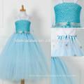 Suministro de fábrica de China color azul estilo largo vestido de niña de las flores vestido de tutú floral al por mayor boutique bebé con precio barato
