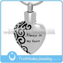 Colgante de las cenizas de la joyería de la urna del corazón para el collar Always In My Heart