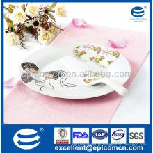 """Casamento design 2pcs 10,5 """"rodada placa de bolo de porcelana com espátula"""