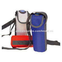 Bottle cooler bags, with flap closure and shoulder strap