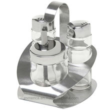 Glass and Stainless Steel Cruet Suit