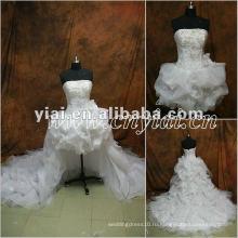 JJ2849 бисером органзы удалены юбка спереди короткое свадебное платье длинный поезд платье