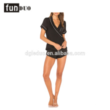 Women black night dress girls short black Satin Pajamas sets