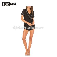 Women black night dress girls short black Satin Pajamas sets