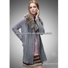 Cuello de piel de las mujeres rebeca chaqueta suéter